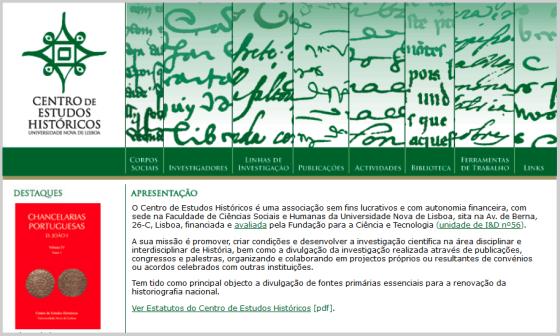 Pormenor da página de entrada (fcsh.unl.pt/ceh, 2009)